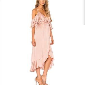 BARDOT Bea Wrap Flounce Off Shoulder Dress Pink
